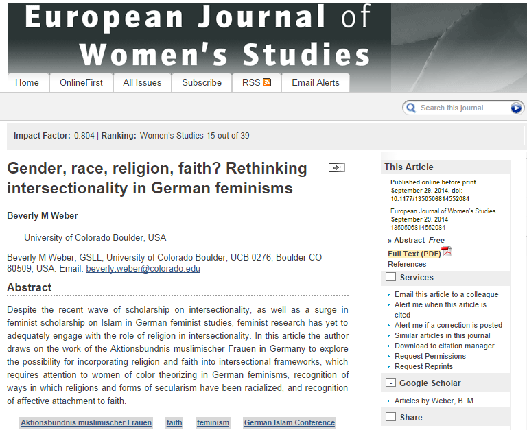 Gender, race, religion, faith? Rethinking intersectionality in German feminismsDespite the recent …
